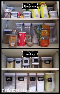 Kitchen Cupboard Deep Pantry Organization With Oxo Containers And Faux Chalk Labels