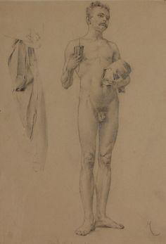 Karel Vítězslav Mašek - Study of nude male with book
