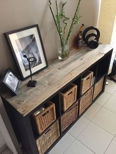 Dress up an IKEA piece of furniture with pallets! 20 examples of inspirations - DIY Crafts - Dress up an IKEA piece of furniture with pallets! 20 examples of inspirations # Ideenfü - Ikea Furniture Hacks, Pallet Furniture, Home Furniture, Ikea Hacks, Ikea Furniture Makeover, Ikea Makeover, Furniture Ideas, Furniture Stores, Antique Furniture