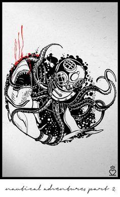 octopus, shark, deepsea, diver helmet, sketch, tattoo, drawing