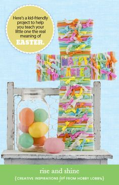 Hobby Lobby Project - Rise and Shine - kids, project, Easter, fabric, crafting, papercrafting, cross, diy
