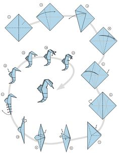 origami seahorse - Google Search