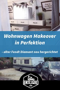 Wohnwagen Makeover in Perfektion - Alter Fendt Diamant neu hergerichtet Katja reports from the makeover of her old Fendt diamond caravan. She not only renovated the family caravan but also Camper Diy, Truck Camper, Camper Trailers, Rv Campers, Caravan Upholstery, Luxury Campers, Caravan Makeover, Vintage Caravans, Sport