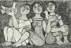 George Sikeliotis with pigeons (ink on paper) Mediterranean Art, Greece Art, Greek Paintings, 10 Picture, Portrait Illustration, Conceptual Art, Artist Art, Printmaking, Contemporary Art