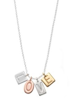 Stella & Dot Silver, Gold & Rose Gold Love Charm Necklace