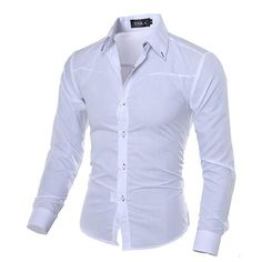 Casual Mens Shirts Fashion Long Sleeve Plaid Shirt For Men Tuxedo Shirts. Slim Fit Dress Shirts, Fitted Dress Shirts, Slim Fit Dresses, Formal Shirts, Casual Shirts For Men, Men Casual, Chemise Fashion, Camisa Slim, Shirt Collar Styles