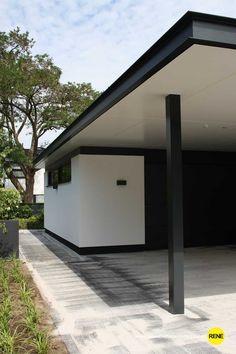 Modern tuinhuis stucwerk garage carport architectuur www.renescholtenarchitectuur.nl