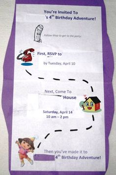 Dora Theme Birthday Party Invitation -Inside view
