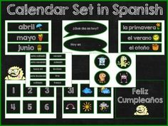 This product includes all you need to have a fun and interactive calendar in Spanish. Your students will love it! Includes: Welcome sign Months Days of the week Weather and seasons Numbers Birthday sign Birthday cards Spanish Teacher, Spanish Class, Spanish Teaching Resources, Elementary Spanish, Class Decoration, Teacher Newsletter, Birthday Cards, Numbers, Calendar