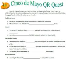 Cinco de Mayo Webquest / QR Code Activity - great activity for substitutes!