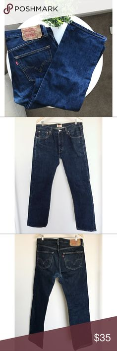 Levi's Original Straight Leg Button fly Jeans Good condition, button closure Photos 1-3 more close to the true color, the other two images were taken under light, so showing slight brighter; The only imperfection is the color became lighter at the crotch area, but it is barely can be seen after wear it. Please check last photo. Levi's Jeans Straight