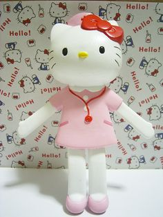 HELLO KITTY Pink Nurse Figure Doll Charm Rare Sanrio Japan 2000