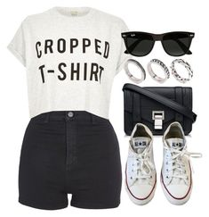 """#14790"" by vany-alvarado ❤ liked on Polyvore featuring Topshop, River Island, Proenza Schouler, Converse, Ray-Ban and ASOS"