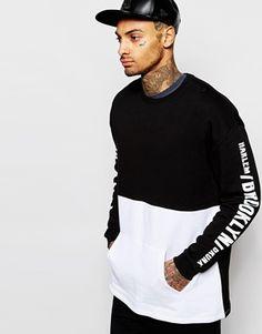 ASOS Oversized Longline Sweatshirt With Sleeve Prints