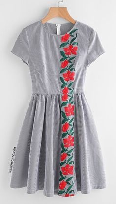 009ce57f0f7fb Embroidered Flower Panel Fit And Flare Striped Dress Supernatural Style