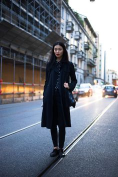 Sung Hee posing on the streets after Prada S/S13 Photo by Giacomo Cabrini