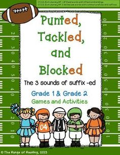 Your students will have a blast learning the 3 sounds of suffix -ed (inflectional endings) when playing THREE games included in Punted, Tackled, and Blocked! This 24 page bundle includes 64 word cards, task cards, Board Game, Roll Say Keep Game and WEEK of reinforcing activities.  Reinforces Wilson Reading, Fundations, and other structured phonetic programs.