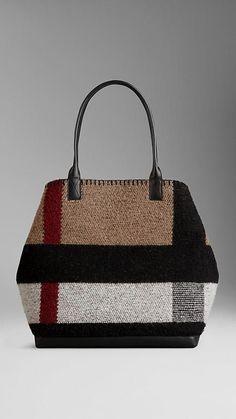 7deda61dc1 Medium Check Blanket Tote Bag from Burberry Fashion Handbags