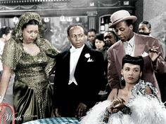 Cabin in the Sky [scene]. (l-r) Ethel Waters, Eddie 'Rochester' Anderson, John William Sublett, Lena Horne. Lena Horne, Black Actresses, Black Actors, Ethel Waters, Colorized Photos, Civil Rights Activists, African American Artist, Night Pictures, Classic Movies