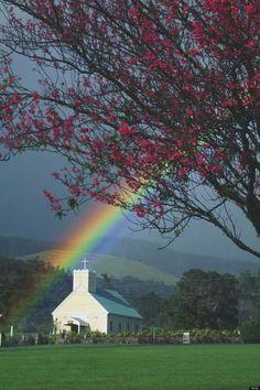 Rainbow Quote, Rainbow Sky, Love Rainbow, Over The Rainbow, Old Country Churches, Old Churches, Rainbow Images, Church Pictures, Rainbow Aesthetic