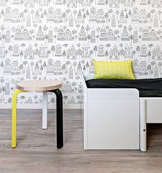 Black and white wallpaper for kid's room