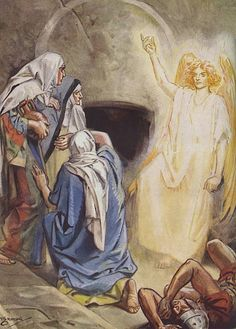 Mary Magdalene and some of the women find Jesus' empty tomb