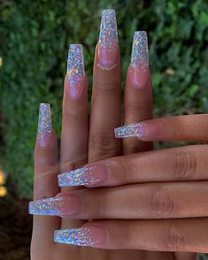In search for some nail designs and some ideas for your nails? Listed here is our listing of must-try coffin acrylic nails for modern women. Best Acrylic Nails, Summer Acrylic Nails, Nail Summer, Acrylic Nails With Glitter, Perfect Nails, Gorgeous Nails, Nails Ideias, Nagel Bling, Fire Nails