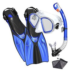Promate Snorkel Set Snorkeling fins mask and Dry Snorkel Gear Bag Set for Adult Youth Snorkeling Set Diving Helmet, Shark Diving, Best Scuba Diving, Scuba Diving Gear, Snorkel Mask, Best Snorkeling