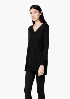 Jersey cuello pico - Cárdigans y jerséis de Mujer   MANGO