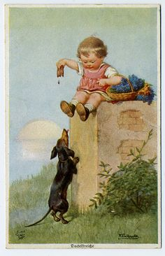 Small Child and Dachshund Vintage Postcard