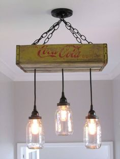 Recycled Coca-Cola Woodcase Chandelier Pendant Lighting