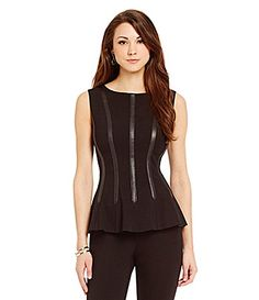 Antonio Melani Valerie Sleeveless Leather Trim Top #Dillards