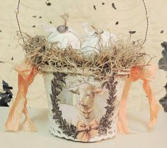 Easter Egg Basket Shabby Chic Vintage Lamb Bird Nest Spring Decor Peat Pot Ready to Ship by OurVintageBliss on Etsy https://www.etsy.com/listing/221699983/easter-egg-basket-shabby-chic-vintage