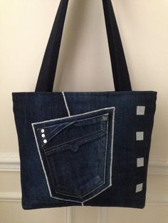 Sac en jean bleu nuit, 5 poches, fermeture par glissière séparable : Sacs à main par jossi-creations