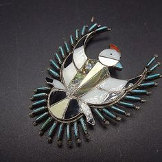 Vintage ZUNI Sterling Silver INLAY Turquoise Needlepoint THUNDERBIRD PIN Brooch