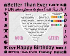 Custom 60th Birthday Gift Poem Heart Print 8 X 10 Assorted Colors