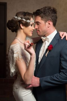 Old Hollywood Bride and Groom style with a pop of red!  Full gallery: www.friartux.com/blog