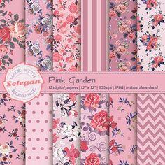 Shabby, Pink Garden, Scrapbook Paper, Scrapbooking, Background Vintage, Fabulous Fabrics, Paper Beads, Printable Paper, Decoupage