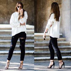 Jacky - Zara Oversized Sweater, One Teaspoon Jeans, River Island High Heels - Sweater Weather
