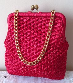 VINTAGE RED CROCHETED NYLON CORDING HAND BAG ROCKABILLY GOODWOOD 50s 60s