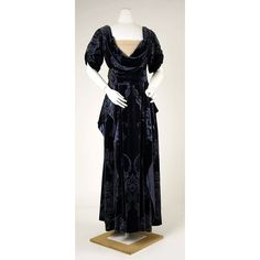 Midnight blue silk devoré velvet evening gown with chiffon neckline and beaded metallic-thread embroidery, by House of Worth, French, 1910-1911.