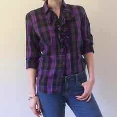 Lauren by Ralph Lauren Flannel Ruffle Shirt Lauren by Ralph Lauren flannel button-down with feminine details. Ruffles on either side of the button placket. Purple and black plaid. Long enough to tuck into a pencil skirt, or wear untucked with jeans. Size Small. Some wear, but overall good condition. Lauren Ralph Lauren Tops Button Down Shirts