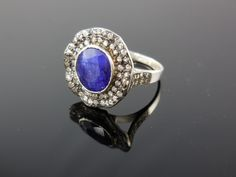 Sapphire & CZ Sterling Silver Ring - Size 8.50