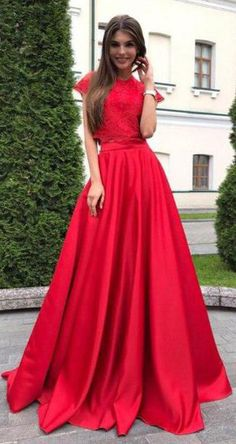 Two Pieces Red Short Sleeve Satin Prom Dresses with Lace Top,Cheap Prom Dresses,N651  #two-piece #prom #red #satin #dresses #2018 #simibridaldresses #party #two-piece