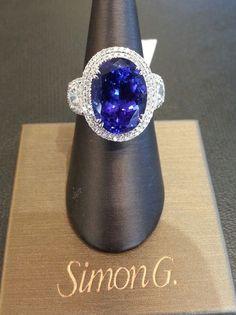 Simon G Tanzanite & Diamond 18k White Gold Ring #SimonG #Cocktail