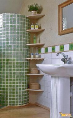 Creative solutions- corner shelves to increase storage in a small bath