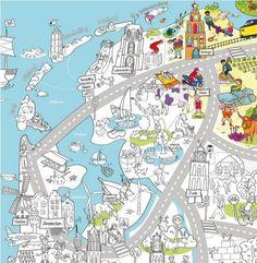Landen - Wereld - Kleurplaat van Nederland - Maak een reuze kleurplaat met de bezienswaardigheden van Nederland of van ons eigen dorp - Van Juf Jannie