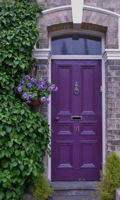 Front Door Colors For Brick Houses. Our Top front door colors for homes with red brick. Pick the perfect color for the front door of your brick house. Purple Front Doors, Purple Door, Painted Front Doors, Front Door Entrance, Glass Front Door, Entry Doors, Entrance Ideas, Door Ideas, Glass Doors