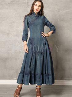 #vintagedresses #denimdress #longdresses #mididress