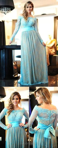 A-line Off-the-shoulder Prom Dresses Blue, Long Prom Dresses 2018, Appliques Long Sleeve Prom Dresses Lace